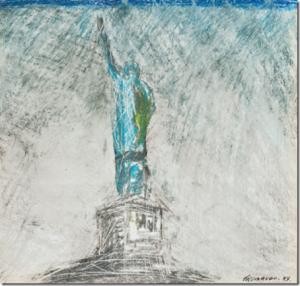 Ezio Gribaudo, carnet di viaggio a New York, 1961: STATUA DELLA LIBERTÀ